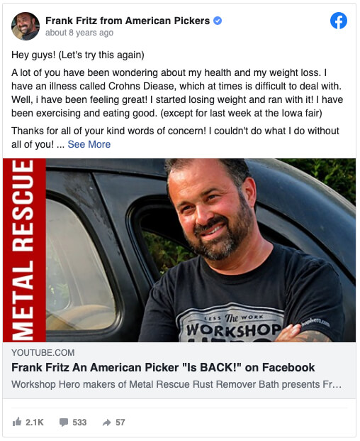 American pickers happened to frank in what American Pickers'