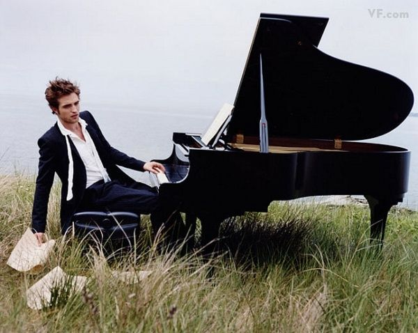 Robert Pattinson on the piano